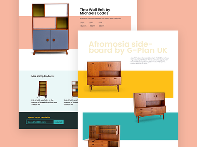 Vamp product page redesign design interior furniture interface interaction ux ui website