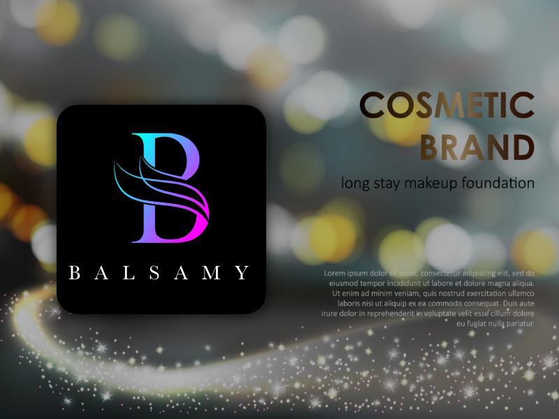 Balsamy foundation makeup creative design logo brand cosmetic