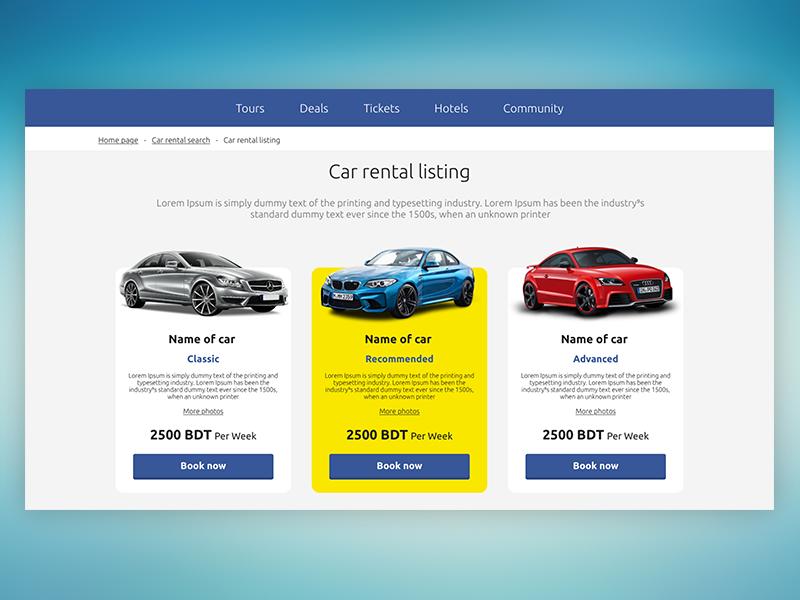 Car Rental design ux ui listing rental car