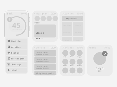 Smartphone App activities burned calories food helth user experience user interface low fidelity high fidelity space app design creative design ui ux application smartphone