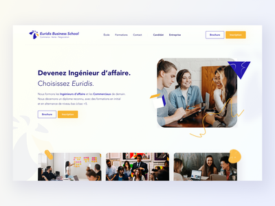 Euridis Business School landing page - redesign redesign uidesign webdesign creative design hero home page gradients landing page