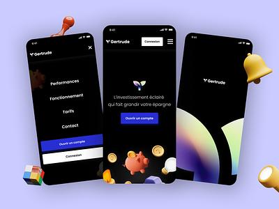 Gertrude app - exploration uidesign creative design light application investment finance gradients 3d mobile
