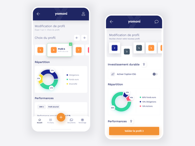 Yomoni - Risk profile modification modification profile investment finance select application mobile