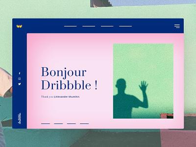 Bonjour Dribbble ! I'm Victor 👋 ui landing page creative  design hello uidesign webdesign header hero debut