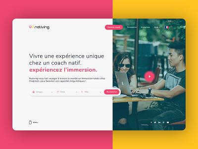 Nativing - Language lessons ui  ux design landing page webdesign design language learning hero uidesign languages