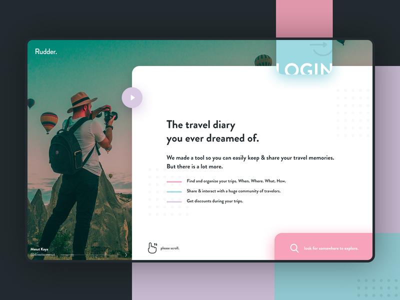 Rudder landing page trip planner trip desktop app design colored webdesign social app travel app logbook travel diary rudder travel hero uidesign creative  design landing page