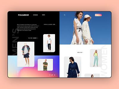 Pull & Bear sketch app brand black gradient clothes shop fashion clean e-commerce design concept store concept e-commerce pullbear webdesign ui uidesign creative  design