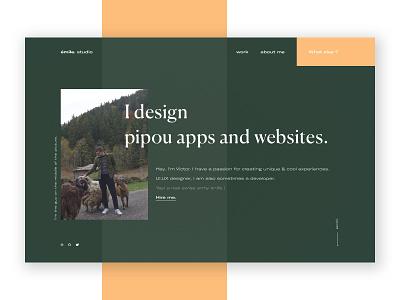 FOLIO __ 004 squares freelance green autumn creative design pipou teaser landing page emile. studio folio portfolio website sketchapp uidesign vector
