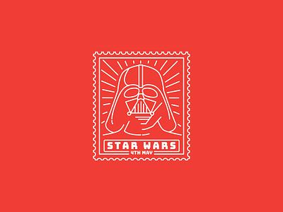 Vader chewy stamp stormtrooper design illustration happystarwarsday