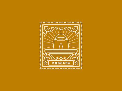 Karachi pakistan karachi illustration stamp