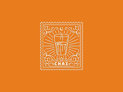 Chai tea stamp pakistan pak karachi illustration cup chai