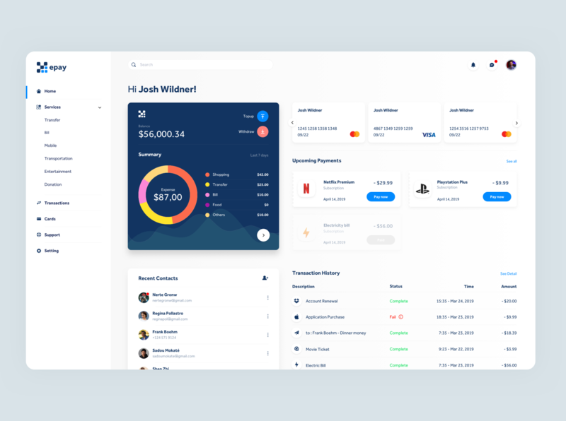 E-Wallet Web App Dashboard
