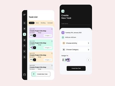 Task List uxdesign ui ux ui app design uitrend uiux task interface task task manager create task task list mobile app design mobile app trendy design