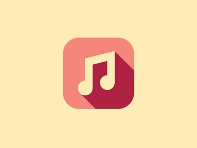 Music minimal red music icon flat ios simple yellow app