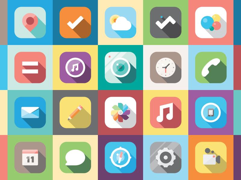 iOS illustration icon ios flat simple minimal app depth redesign colorful