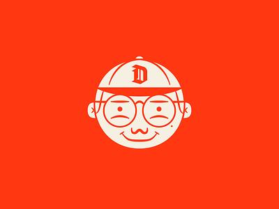 Self-Portrait 2020 line cartoon character face illustration icon simple navy orange portrait avatar vector