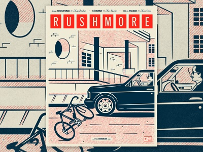 Rushmore Poster line art houston texas wes anderson film movie poster vector design typography illustration