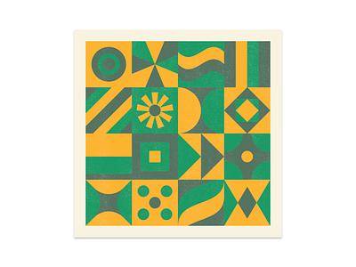 Shape & Color II abstract printmaking risograph print exploration color shape