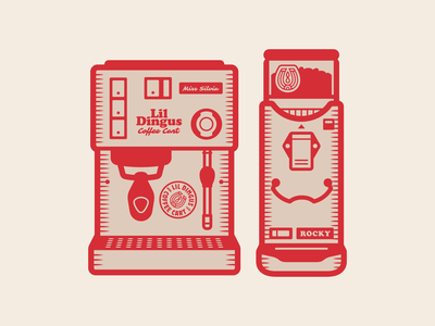 Miss Silvia & Rocky beans vector simple design pattern sticker illustration coffee grinder machine espresso