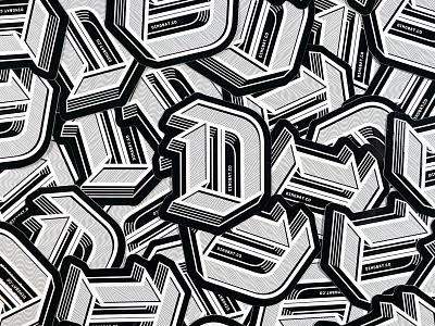 D Sticker design dropcap type 3d logo sticker