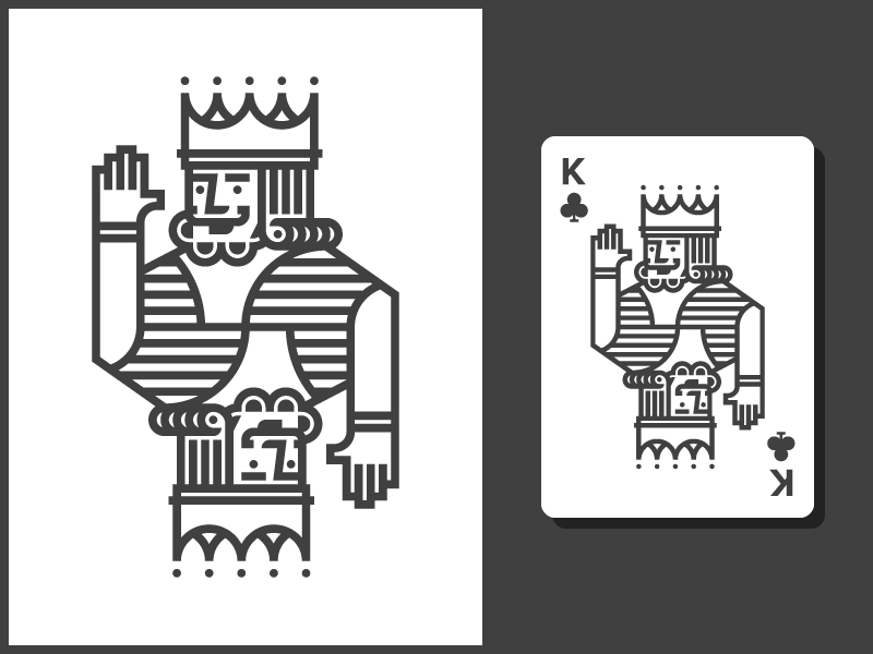 King of Clubs line simple illustration cards king crown