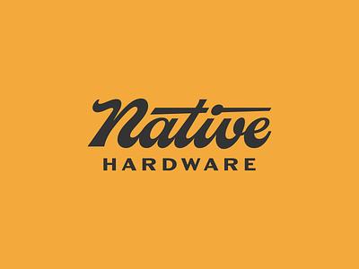 Native Hardware hardware pattern caligraphy simple graphic design design vector branding brand patch badge typography type cursive script logo logotype