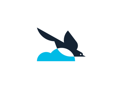 Kitura blue shapes simple swift cloud bird logo