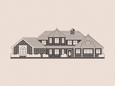 Est. 1988 custom building craftsman shapes lines simple illustration house home dream remodeling