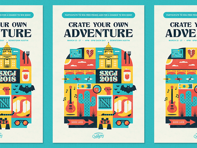 Crate Your Own Adventure scavenger hunt texas icons poster sxsw austin illustration cratejoy