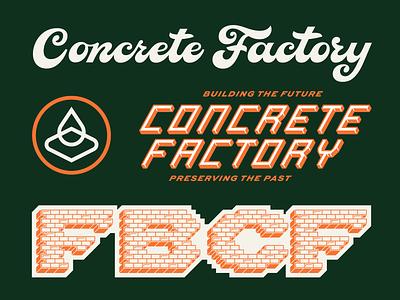 FBCF Elements brand extension 3d type bricks script factory concrete custom type design type icon logo illustration