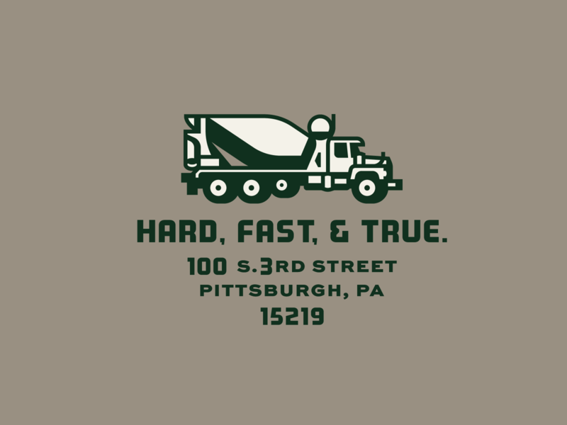 FBCF Truck cement concrete pittsburgh badge lockup truck vector illustration design type typography