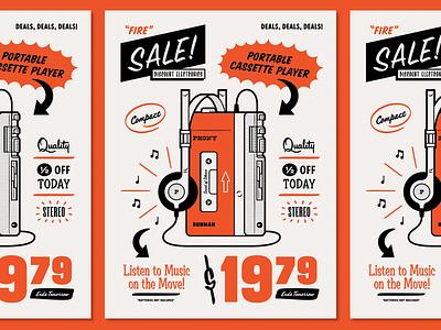 Discount Electronics typography retro simple illustration sale deals walkman sony cassette music afterhours poster