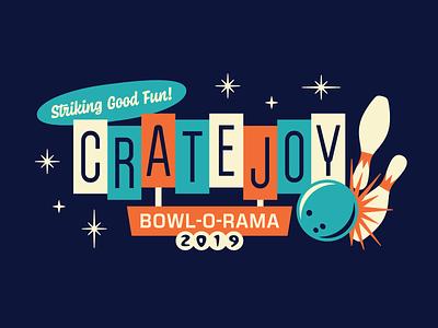 CJ Bowl-o-rama mid-century simple tee shirt bowling typography type vector illustration