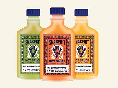 Snakebit Hot Sauce vector branding typography spicy pepper habanero hot sauce good luck snake design illustration packaging