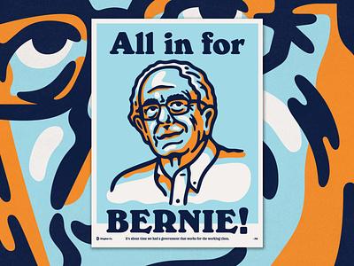All in for Bernie! print poster illustration 2020 bernie sanders