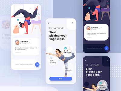 Yoga girl application girl yoga ux homepage ui vector graphic colors app mobile