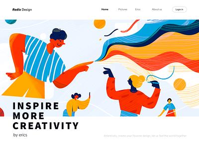 Inspire creative works internet creation touch hands flat splashpage branding vector graphic illustration colors line inspire woman job man work creative