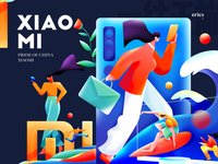 Hi XIAOMI surf skateboard tv mobile man work woman homepage poster colors graphic illustration xiaomi