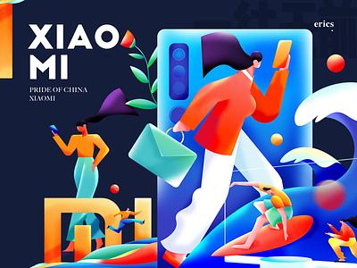 Hi XIAOMI surf skateboard tv mobile man work woman homepage poster colors graphic illustration xiaomi