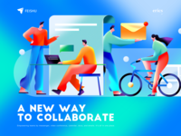 Feishu collaborate feishu work vector web homepage branding colors graphic illustrations illustration