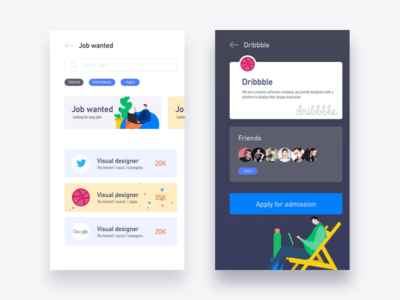 Job wanted illustration graphic colors web ui wanted job