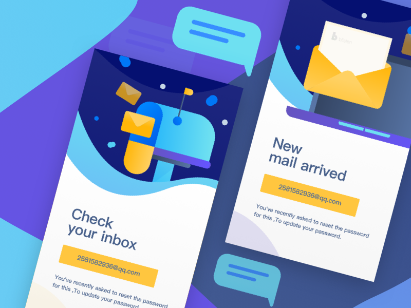 New start page display, e-mail reminder. 2018 splashpage 2018 vector illustration graphic colors web ui