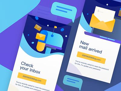 New start page display, e-mail reminder. 2018 splashpage 2018 vector illustration graphic colors web ui