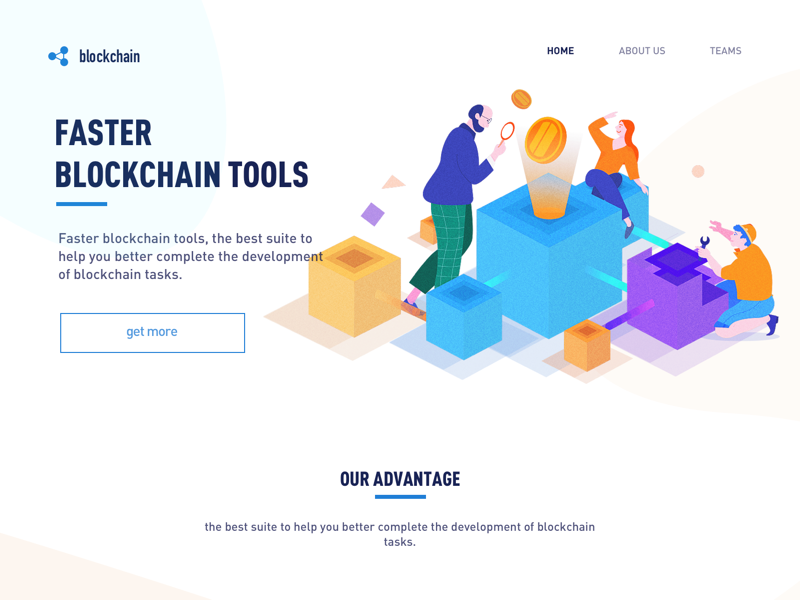 Faster  blockchain tools bitcoin blockchain illustrations vector poster illustration graphic colors
