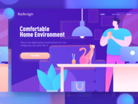 Color style vector character home illustration