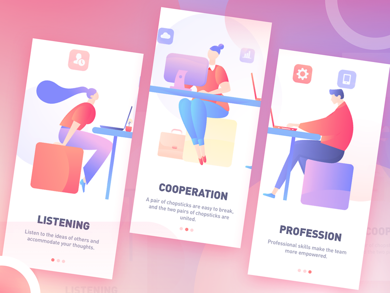 splashpage of Increased work efficiency app erics splashpage homepage illustrations vector poster illustration graphic colors