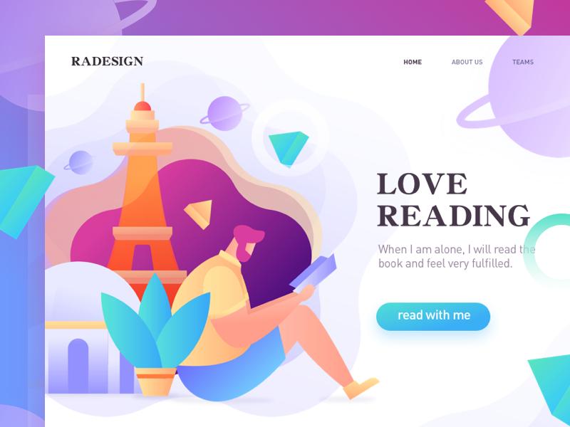 homepage of Reading home vector illustration, multicolor design splashpage app web illustrations ui graphic colors