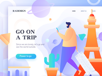 homepage of Go on a trip  vector illustration, multicolor