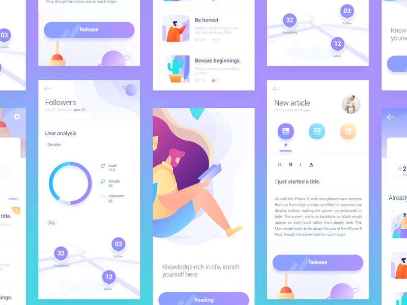 some pages app of Knowledge sharing homepage app ux vector ui illustrations graphic illustration colors