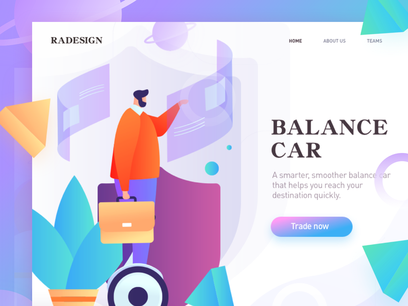 homepage of balance car vector illustration, multicolor design homepage web splashpage illustrations ui graphic illustration colors